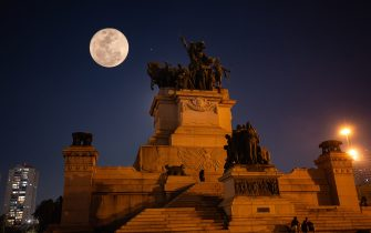 Moon Blue is seen at the Independence Monument this Sunday night, August 22, 2021 in the Ipiranga neighborhood in São Paulo Brazil (Photo by Amauri Nehn/NurPhoto via Getty Images)