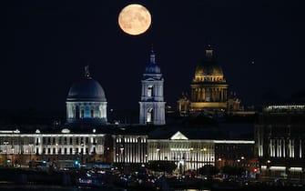 Full moon over St. Petersburg. St. Petersburg, Russia 21, August 2021 (Photo by Valya Egorshin/NurPhoto via Getty Images)