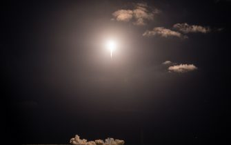 The SpaceX Falcon 9 rocket carrying the Inspiration4 crew launches from Pad 39A at NASA's Kennedy Space Center in Cape Canaveral, Florida on September 15, 2021. - The Inspiration4 mission, the first to send an all-civilian crew to orbit, will venture deeper into space than the International Space Station. (Photo by CHANDAN KHANNA / AFP) (Photo by CHANDAN KHANNA/AFP via Getty Images)