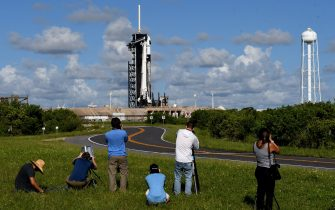 FLORIDA, UNITED STATES - SEPTEMBER 15: Media photographers set up cameras to take the launch of Falcon 9 rocket and a Crew Dragon capsule at pad 39A at NASAâs Kennedy Space Center in Cape Canaveral, Florida on September 15, 2021. SpaceX is scheduled to launch the first completely private Inspiration4 mission at 8:02 p.m. tonight, carrying four civilians into orbit, with a splashdown 3 days later off the coast of Florida. (Photo by Paul Hennessy/Anadolu Agency via Getty Images)