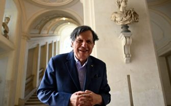 Italian scholar and physicist Giorgio Parisi poses on October 5, 2021 at the Lincean Academy (Accademia dei Lincei) in Rome, after co-winning the Nobel Physics Prize. - US-Japanese scientist Syukuro Manabe, Klaus Hasselmann of Germany and Giorgio Parisi of Italy on October 5, 2021 won the Nobel Physics Prize for climate models and the understanding of physical systems. (Photo by Alberto PIZZOLI / AFP) (Photo by ALBERTO PIZZOLI/AFP via Getty Images)