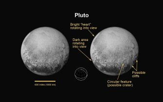 Pluto?s North Pole, Equator, and Central Meridian. For the first time on Pluto, this view reveals linear features that may be cliffs, as well as a circular feature that could be an impact crater. 14 Julay 2015. ANSA/ NASA +++ ANSA PROVIDES ACCESS TO THIS HANDOUT PHOTO TO BE USED SOLELY TO ILLUSTRATE NEWS REPORTING OR COMMENTARY ON THE FACTS OR EVENTS DEPICTED IN THIS IMAGE; NO ARCHIVING; NO LICENSING +++