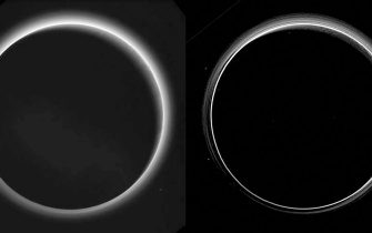 Two different versions of an image of Pluto?s haze layers, taken by New Horizons as it looked back at Pluto's dark side nearly 16 hours after close approach, from a distance of 480,000 miles (770,000 kilometers), at a phase angle of 166 degrees. Pluto's north is at the top, and the sun illuminates Pluto from the upper right. These images are much higher quality than the digitally compressed images of Pluto?s haze downlinked and released shortly after the July 14 encounter, and allow many new details to be seen. The left version has had only minor processing, while the right version has been specially processed to reveal a large number of discrete haze layers in the atmosphere. In the left version, faint surface details on the narrow sunlit crescent are seen through the haze in the upper right of Pluto?s disk, and subtle parallel streaks in the haze may be crepuscular rays- shadows cast on the haze by topography such as mountain ranges on Pluto, similar to the rays sometimes seen in the sky after the sun sets behind mountains on Earth. ANSA/ NASA/Johns Hopkins University Applied Physics Laboratory/Southwest Research Institute +++ ANSA PROVIDES ACCESS TO THIS HANDOUT PHOTO TO BE USED SOLELY TO ILLUSTRATE NEWS REPORTING OR COMMENTARY ON THE FACTS OR EVENTS DEPICTED IN THIS IMAGE; NO ARCHIVING; NO LICENSING +++