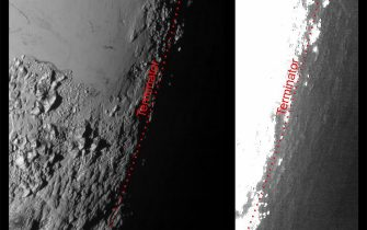 This image of Pluto from NASA?s New Horizons spacecraft, processed in two different ways, shows how Pluto?s bright, high-altitude atmospheric haze produces a twilight that softly illuminates the surface before sunrise and after sunset, allowing the sensitive cameras on New Horizons to see details in nighttime regions that would otherwise be invisible. The right-hand version of the image has been greatly brightened to bring out faint details of rugged haze-lit topography beyond Pluto?s terminator, which is the line separating day and night. The image was taken as New Horizons flew past Pluto on July 14, 2015, from a distance of 50,000 miles (80,000 kilometers). ANSA/  NASA/Johns Hopkins University Applied Physics Laboratory/Southwest Research Institute +++ ANSA PROVIDES ACCESS TO THIS HANDOUT PHOTO TO BE USED SOLELY TO ILLUSTRATE NEWS REPORTING OR COMMENTARY ON THE FACTS OR EVENTS DEPICTED IN THIS IMAGE; NO ARCHIVING; NO LICENSING +++