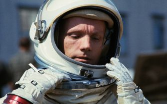 (Original Caption) Closeup of Gemini and command pilot Neil Armstrong in his space suit, March 11, during brief break in continuing round of preparations for March 15 Gemini and mission. The flight will include a rendezvous and docking with an agena target vehicle.