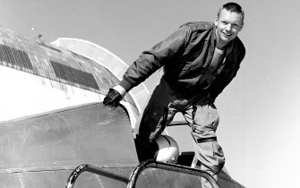 Photograph of Neil Armstrong in the cockpit of the Ames Bell X-14 airplane at NASA's Ames Research Center, Moffett Field, California, 1955. Image courtesy National Aeronautics and Space Administration (NASA). (Photo by Smith Collection/Gado/Getty Images)
