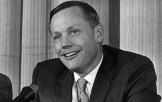 12th November 1969:  Neil Armstrong, American Lunar Astronaut giving a press interview.  (Photo by Ronald Dumont/Express/Getty Images)