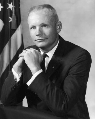 10th September 1964:  A portrait of American astronaut Neil Armstrong wearing a suit and a tie and clasping his hands, Manned Spacecraft Center, Houston, Texas. Armstrong became the first man to walk the lunar surface on July 20, 1969 when the Apollo 11 mission successfully reached the moon.  (Photo by Hulton Archive/Getty Images)