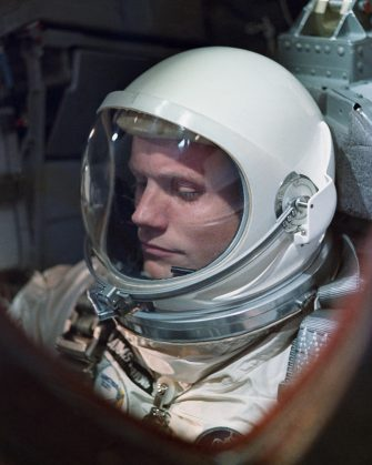 March 1966:  American astronaut Neil Armstrong on the one-day Gemini VIII mission. Three years later, Armstrong became the first man to set foot on the moon, during the Apollo 11 lunar landing.  (Photo by NASA/Space Frontiers/Getty Images)