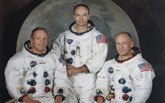 The three crew members of NASA's Apollo 11 lunar landing mission pose for a group portrait a few weeks before the launch, May 1969. From left to right, Commander Neil Armstrong, Command Module Pilot Michael Collins and Lunar Module Pilot Edwin 'Buzz' Aldrin Jr. (Photo by Space Frontiers/Getty Images)