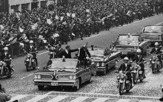 The three US astronauts from the Apollo 11 mission take part in a tickertape parade in the Ginza, Tokyo, during a two-day visit to Japan on their Goodwill Tour of the world, 4th-5th November 1969.   (Photo by Keystone/Hulton Archive/Getty Images)