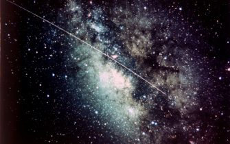 Milky Way in the Sagittarius region with meteor streak. The trail of a meteor is seen against the Milky Way galaxy that contains our Solar System. It is part of the Sagittarius constellation. Artist NASA. (Photo by Heritage Space/Heritage Images/Getty Images)