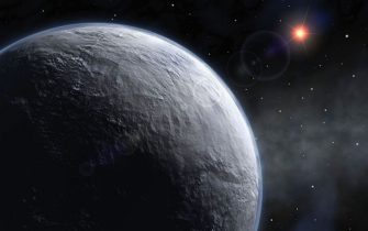 IN SPACE - UNDATED: (EMBARGOED FOR PUBLICATION UNTIL 1800 GMT JANUARY 25, 2006)  An artist's impression of newly discovered planet, named OGLE-2005-BLG-390Lb, which has been discovered in a project involving two scientists from St Andrews University in Scotland. Scientists say is the most Earth-like found to date, the new planet has a mass five times that of earth and is approximately 20,000 light years from Earth at the centre of the Milky Way.  (Photo by European Southern Observatory via Getty Images)