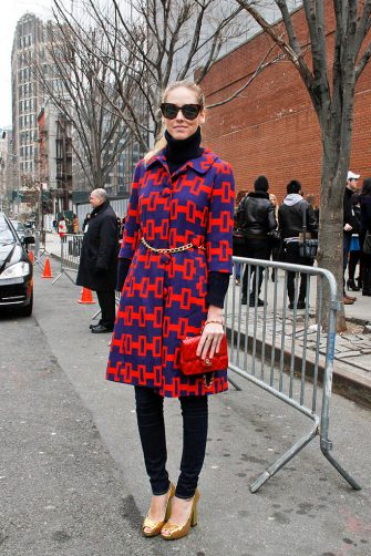 NEW YORK, NY - FEBRUARY 16: Italian Fashion Blogger Chiara Ferragni seen wearing a Milly coat, turtleneck sweater, 7 for Mankind jeans, Pollini shoes, Celine sunglasses and Chanel bag outside the Ralph Lauren Showing at Skylight Studios during Fall 2012 Fashion Week on the streets of Manhattan on February 16, 2012 in New York City. (Photo by Monica Mcklinski/Getty Images)