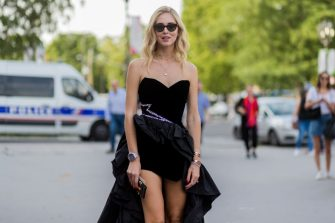PARIS, FRANCE - JULY 04: Chiara Ferragni wearing a black dress from Alexandre Vauthier outside Alexandre Vauthierduring Paris Fashion Week - Haute Couture Fall/Winter 2017-2018 : Day Three on July 4, 2017 in Paris, France. (Photo by Christian Vierig/Getty Images)