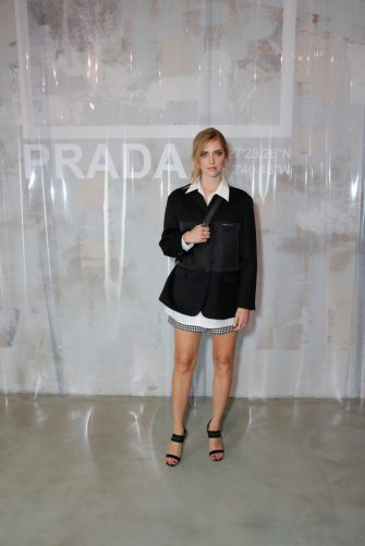 MILAN, ITALY - JUNE 17: Chiara Ferragni attends Prada Men's Spring/Summer 2019 Fashion Show on June 17, 2018 in Milan, Italy. (Photo by Andreas Rentz/Getty Images for Prada)