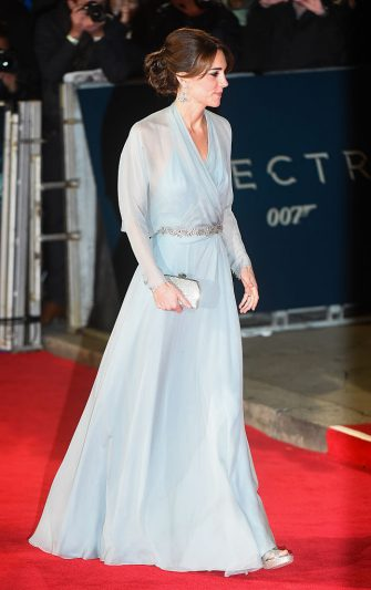 "LONDON, ENGLAND - OCTOBER 26:  Catherine, Duchess of Cambridge attends the Royal Film Performance of  ""Spectre"" at Royal Albert Hall on October 26, 2015 in London, England.  (Photo by Samir Hussein/WireImage)"