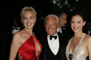 "Sharon Stone, Giorgio Armani and Ashley Judd during amfAR's ""Cinema Against AIDS Cannes"" Benefit Sponsored by Miramax and Quintessentially - Red Carpet at Moulin De Mougins in Cannes, France. (Photo by J. Vespa/WireImage)"