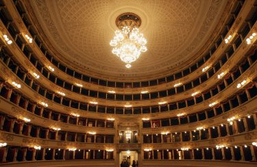 MILAN, ITALY - NOVEMBER 12:  A general view of the newly renovated Teatro Alla Scala on November 12, 2004 in Milan, Italy. The building - the most famous opera theatre in Italy - will be reopened after two years of restoration on December 7, 2004. (Photo by Giuseppe Cacace/Getty Images)