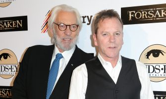 LOS ANGELES, CA - FEBRUARY 16:  Actors Donald Sutherland (L) and Kiefer Sutherland attend the screening of Momentum Pictures' 'Forsaken' at Autry Museum of the American West on February 16, 2016 in Los Angeles, California.  (Photo by Imeh Akpanudosen/Getty Images)