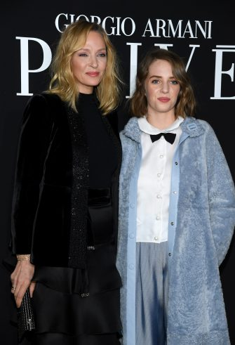 PARIS, FRANCE - JANUARY 22: Uma Thurman and Maya Hawke attend the Giorgio Armani Prive Haute Couture Spring Summer 2019 show as part of Paris Fashion Week on January 22, 2019 in Paris, France. (Photo by Pascal Le Segretain/Getty Images)