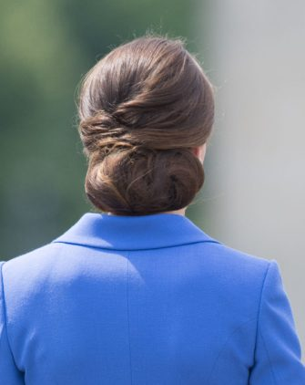 BERLIN, GERMANY - JULY 19:  Catherine, Duchess of Cambridge, hair detail, vistis the Brandenburg Gate during an official visit to Poland and Germany on July 19, 2017 in Berlin, Germany.  (Photo by Samir Hussein/WireImage)