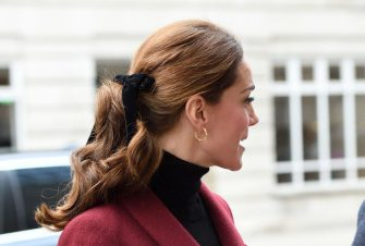 LONDON, ENGLAND - NOVEMBER 21:  Catherine, Duchess of Cambridge, hair detail, visits a UCL Developmental Neuroscience Lab at UCL London on November 21, 2018 in London, England.  (Photo by Karwai Tang/WireImage)