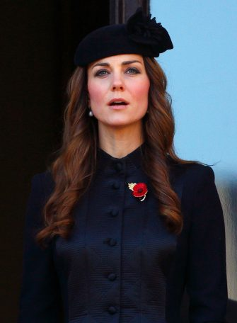 LONDON, UNITED KINGDOM - NOVEMBER 10: (EMBARGOED FOR PUBLICATION IN UK NEWSPAPERS UNTIL 48 HOURS AFTER CREATE DATE AND TIME) Catherine, Duchess of Cambridge attends the annual Remembrance Sunday Service at the Cenotaph on November 10, 2013 in London, United Kingdom. People across the UK gathered to pay tribute to service personnel who have died in the two World Wars and subsequent conflicts, as part of the annual Remembrance Sunday ceremonies. (Photo by Max Mumby/Indigo/Getty Images)