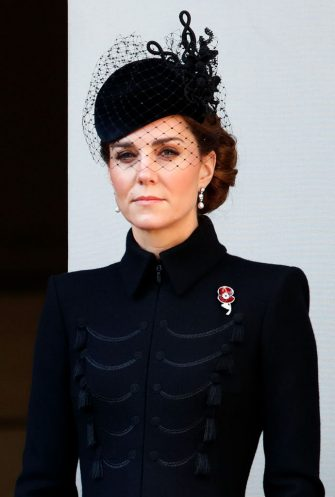 LONDON, UNITED KINGDOM - NOVEMBER 10: (EMBARGOED FOR PUBLICATION IN UK NEWSPAPERS UNTIL 24 HOURS AFTER CREATE DATE AND TIME) Catherine, Duchess of Cambridge attends the annual Remembrance Sunday service at The Cenotaph on November 10, 2019 in London, England. The armistice ending the First World War between the Allies and Germany was signed at Compiegne, France on eleventh hour of the eleventh day of the eleventh month - 11am on the 11th November 1918. (Photo by Max Mumby/Indigo/Getty Images)