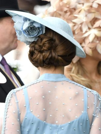 ASCOT, ENGLAND - JUNE 18: Catherine, Duchess of Cambridge, hair detail, attends day one of Royal Ascot at Ascot Racecourse on June 18, 2019 in Ascot, England. (Photo by Karwai Tang/WireImage)