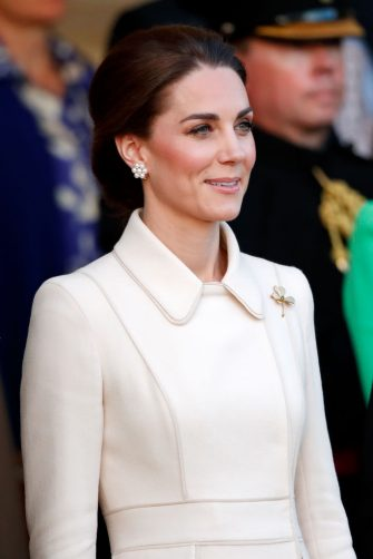 LONDON, UNITED KINGDOM - JUNE 06: (EMBARGOED FOR PUBLICATION IN UK NEWSPAPERS UNTIL 24 HOURS AFTER CREATE DATE AND TIME) Catherine, Duchess of Cambridge attends the Household Division's 'Beating Retreat' at Horse Guards Parade on June 6, 2019 in London, England. Beating Retreat originated as a military drum call that can be traced back to the 16th Century, which has now evolved into a musical ceremonial event, comprising of a display of military music, horsemanship, precision drill, pageantry and fireworks. (Photo by Max Mumby/Indigo/Getty Images)