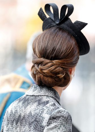LONDON, UNITED KINGDOM - APRIL 05: (EMBARGOED FOR PUBLICATION IN UK NEWSPAPERS UNTIL 48 HOURS AFTER CREATE DATE AND TIME) Catherine, Duchess of Cambridge (hair detail) attends a Service of Hope at Westminster Abbey on April 5, 2017 in London, England. The multi-faith Service of Hope was held for the four people killed when Khalid Masood committed an act of terror in Westminster on Wednesday March 22. Survivors, bereaved families and members of the emergency services joined The Duke and Duchess of Cambridge, Prince Harry, the Home Secretary, Amber Rudd and London Mayor, Sadiq Khan, in the congregation. (Photo by Max Mumby/Indigo/Getty Images)