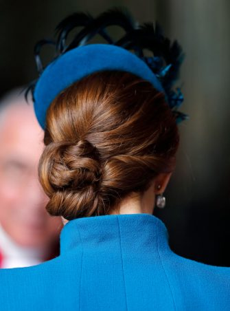 LONDON, UNITED KINGDOM - APRIL 25: (EMBARGOED FOR PUBLICATION IN UK NEWSPAPERS UNTIL 24 HOURS AFTER CREATE DATE AND TIME) Catherine, Duchess of Cambridge (hair detail) attends the ANZAC Day Service of Commemoration and Thanksgiving at Westminster Abbey on April 25, 2019 in London, England. ANZAC Day is national day of remembrance in Australia and New Zealand marking the anniversary of the ANZAC (Australian and New Zealand Army Corps) landings at Gallipoli in 1916 during the First World War. (Photo by Max Mumby/Indigo/Getty Images)