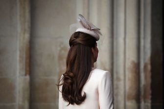 LONDON, ENGLAND - JUNE 04:  Catherine, Duchess of Cambridge (Hat, hair detail) arrives for a service of celebration to mark the 60th anniversary of the Coronation Queen Elizabeth II at Westminster Abbey on June 4, 2013 in London, England.  The Queen's Coronation took place on June 2, 1953 after a period of mourning for her father King George VI, following her ascension to the throne on February 6, 1952. The event 60 years ago was the first time a coronation was televised for the public.  (Photo by Dan Kitwood/Getty Images)