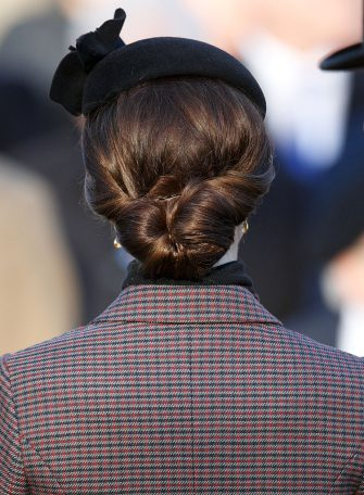 KING'S LYNN, UNITED KINGDOM - JANUARY 10: (EMBARGOED FOR PUBLICATION IN UK NEWSPAPERS UNTIL 48 HOURS AFTER CREATE DATE AND TIME) Catherine, Duchess of Cambridge (hair detail) attends a wreath laying ceremony to mark the 100th anniversary of the final withdrawal from the Gallipoli Peninsula at the War Memorial Cross, Sandringham on January 10, 2016 in King's Lynn, England. (Photo by Max Mumby/Indigo/Getty Images)