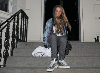 LONDON, UNITED KINGDOM - FEBRUARY 19: Cara Delevigne is seen taking a stumble on the stairs as she leaves house party on February 19, 2013 in London, United Kingdom.  (Photo by JJ/Bauer-Griffin/GC Images)