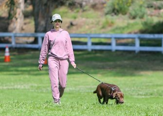LOS ANGELES, CA - MARCH 18: Alessandra Ambrosio is seen taking her dog, Cinnamon for a walk on March 18, 2020 in Los Angeles, California.  (Photo by BG004/Bauer-Griffin/GC Images)