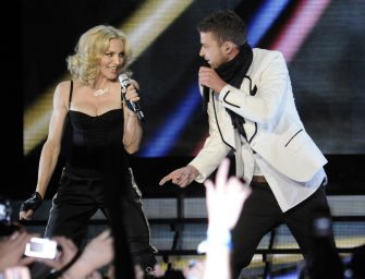 """NEW YORK - APRIL 30:  Madonna and Justin Timberlake perform thank you show for fans in celebration of the release of """"Hard Candy"""" at Roseland Ballroom on April 30, 2008 in New York City.  (Photo by Kevin Mazur/WireImage)"""