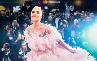 """Singer and actress Lady Gaga arrives for the premiere of the film """"A Star is Born"""" presented out of competition on August 31, 2018 during the 75th Venice Film Festival at Venice Lido. (Photo by Filippo MONTEFORTE / AFP)        (Photo credit should read FILIPPO MONTEFORTE/AFP via Getty Images)"""