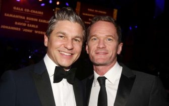 NEW YORK, NEW YORK - MARCH 02: David Burtka and Neil Patrick Harris pose at the 2020 Roundabout Theater Gala honoring Alan Cumming, Michael Kors & Lance LePere at The Ziegfeld Ballroom on March 2, 2020 in New York City. (Photo by Bruce Glikas/WireImage)