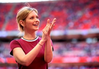 LONDON, ENGLAND - MAY 19:  Rachel Riley applauds fans prior to The Emirates FA Cup Final between Chelsea and Manchester United at Wembley Stadium on May 19, 2018 in London, England.  (Photo by Laurence Griffiths/Getty Images)