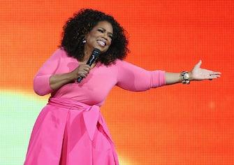 SYDNEY, AUSTRALIA - DECEMBER 12:  Oprah Winfrey is seen  on stage during her 'An Evening With Oprah' tour at Allphones Arena on December 12, 2015 in Sydney, Australia.  (Photo by Don Arnold/WireImage)