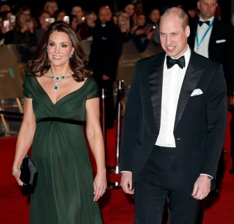 LONDON, UNITED KINGDOM - FEBRUARY 18: (EMBARGOED FOR PUBLICATION IN UK NEWSPAPERS UNTIL 24 HOURS AFTER CREATE DATE AND TIME) Catherine, Duchess of Cambridge and Prince William, Duke of Cambridge attend the EE British Academy Film Awards (BAFTA) held at the Royal Albert Hall on February 18, 2018 in London, England. (Photo by Max Mumby/Indigo/Getty Images)