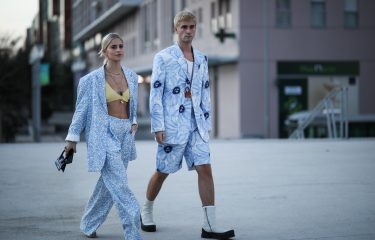 PARIS, FRANCE - JANUARY 18: Marc Forne & Caro Daur wearing Jacquemus looks before the Jacquemus Men Fashion Show AW20 on January 18, 2020 in Paris, France. (Photo by Jeremy Moeller/Getty Images)