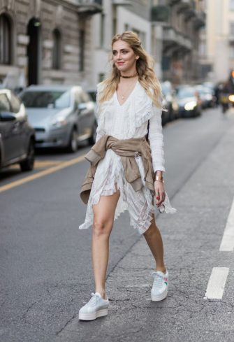 MILAN, ITALY - FEBRUARY 22: Chiara Ferragni wearing a white dress outside Alberta Ferretti on February 22, 2017 in Milan, Italy. (Photo by Christian Vierig/Getty Images)