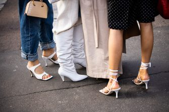 MILAN, ITALY - FEBRUARY 20: Guests, shoes details, is seen outside Max Mara show, during Milan Fashion Week Fall/Winter 2020-2021 on February 20, 2020 in Milan, Italy. (Photo by Claudio Lavenia/Getty Images)