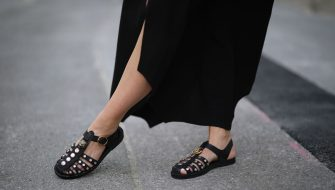 AUGSBURG, GERMANY - MAY 31: Karin Teigl wearing by Aylin Koenig dress and Gucci sandals on May 31, 2020 in Augsburg, Germany. (Photo by Jeremy Moeller/Getty Images)