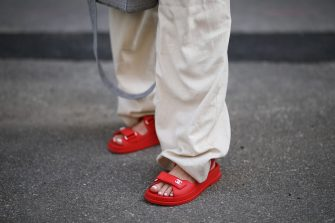 AUGSBURG, GERMANY - MAY 31: Karin Teigl wearing by Aylin Koenig pants and Chanel sandals on May 31, 2020 in Augsburg, Germany. (Photo by Jeremy Moeller/Getty Images)