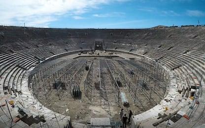 Arena di Verona, il palco spostato al centro. VIDEO IN TIMELAPSE