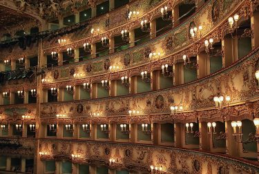 VENICE, ITALY - JANUARY 29:  A general view of the interior of La Fenice Theatre on January 29, 2016 in Venice, Italy. On the 29th January 1996 Venice mourned the loss of its world famous La Fenice opera house as the fire completly destroyed the building highlighting the threat of disaster in the fragile lagoon city.  (Photo by Awakening/Getty Images)